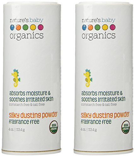 Nature's Baby Organics Silky Dusting Powder, Fragrance Free, 4-Ounce Container  (Pack of 2) - 1