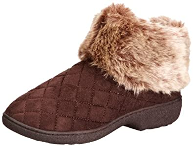 Isotoner Womens Woodlands Quilted Bootie Brown Slippers 95324BRN7 7 UK, 40 EU