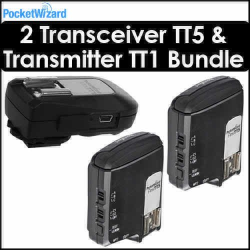 Pocket Wizard 801150 Flex Transceiver TT5 Bundle of 2 With 1 Pocket Wizard 801140 Mini TT1 Transmitter for Canon DSLR for Canon DSLR (1 Mini and 2 Flex)