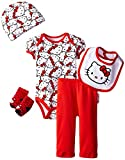 Hello Kitty Baby Girls Baby Gift Set, Red, 0-6 Months
