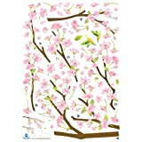 Reusable Decoration Wall Sticker Decal - Hummingbirds in Pink Flower Tree