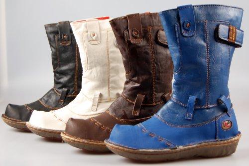 Leder Stiefel Damen Schwarz Blau Weiß Braun echt Leder Winter Schuhe gefüttert Damenstiefel