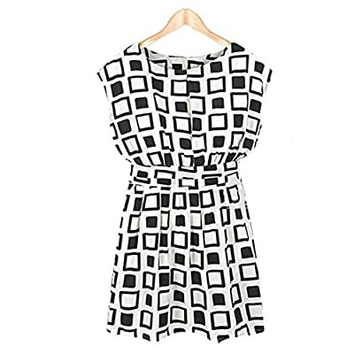 TR.OD Women Black White Plaid Printed Chiffon Dress Blouses