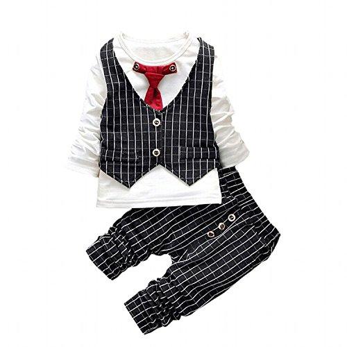IDGIRL infant and toddler tuxedos Gentleman formal wear Wedding suit BD037-4T-black