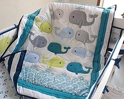 Ocean Whale 8 Piece Neutral Crib Bedding Set from F.C.L