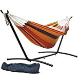 Prime Garden 9 FT. Double Hammock with Space Saving Steel Hammock Stand, Elegant Orange Stripe