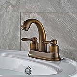 Votamuta Modern Retro Style 4 Inch Centerset Bathroom Basin Faucet Widespread Dual Holes Mixer Taps Antique Brass Finished