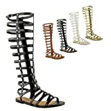 Fashion Thirsty ladies Cut Out Gladiator Sandals Flat Knee Boots Strappy Size