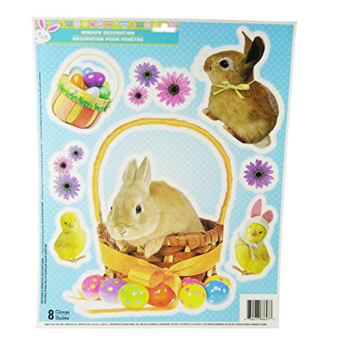 Easter Decorative Glitter Window Clings - Bunny Chicks Flowers & Easter Eggs Theme- 9 Clings - 1