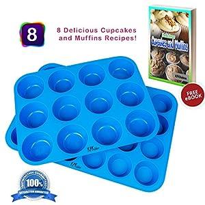 Silicone Muffin Pan & Cupcake Baking Set - Non Stick, BPA Free & Dishwasher Safe Silicon Bakeware Pans/Tins - Blue Top Home Kitchen Rubber Trays & Molds - Free Recipe eBook
