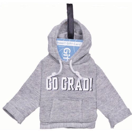 Novelty GO GRAD Grey Hoodie Sweatshirt Gift Card Holder