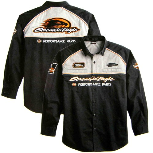 Buy Harley Davidson Men's Fireball Long Sleeve Shirt. 100% cotton twill. Button front. Two chest pockets. Embroidered Harley-Davidson and Screamin' Eagle graphics on sleeves, front, and back. 98313-08VM
