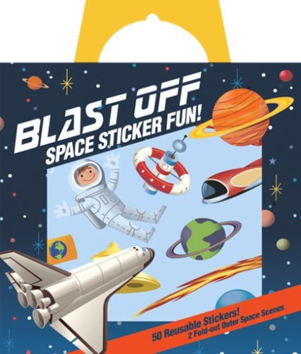 Peaceable Kingdom / Sticker Fun! Blast Off Space Reusable Sticker Tote front-700359