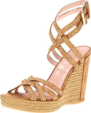 Stuart Weitzman Women's Reins Wedge Sandal,Camel Laniard,5 M US: Shoes