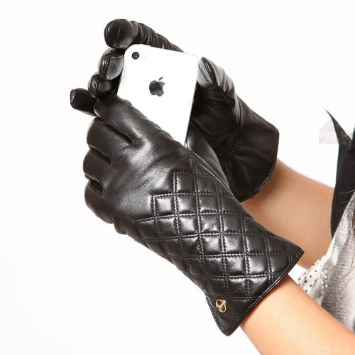 Elma Women's Touch Screen Nappa Leather Winter Gloves Iphone