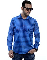 Zeal Checkered 100% Cotton Blue Casual Shirt for Men