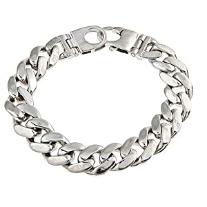 "Sterling Silver Men's Handmade Cuban Link Bracelet Rhodium Plated 8.5"", 71g"