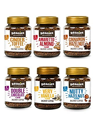 NEW! Beanies Set of 6 x 50g Instant Flavoured Mini Coffee Jars - Ideal hamper gifts for Christmas - Cinder toffee, Chocolate, Hazelnut, Vanilla, Cinnamon/hazelnut and Amaretto - Get your six pack from Caramba. from Caramba