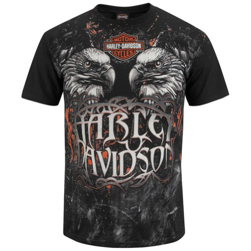 Harley-Davidson Mens Eagle Power Black Short Sleeve T-Shirt (X-Large)