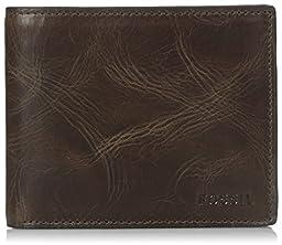 Fossil Men\'s RFID Blocking Derrick Bifold Wallet with Flip Id, Dark Brown, One Size