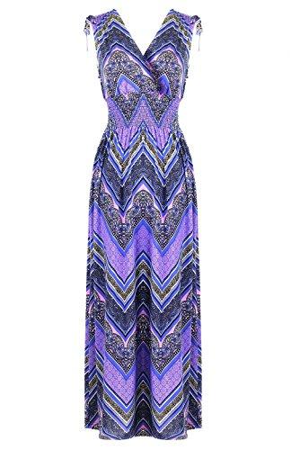 2LUV Women's Shoulder Tie Chevron Print Maxi Dress Chevron-Purple 3X (D8803X-16)