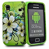 Phonedirectonline- Green ' Jasmine' flower Design fancy silicone case cover pouch for Samsung galaxy