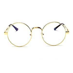 415c41ba36a Scorpiuse Aviator Glasses Clear Lens Retro Metal Frame Eyeglasses (Round  Gold