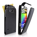 "Yousave Accessories TM Black Carbon Faser Leder Flip Schutzh�lle Tasche F�r Das HTC Sensation XL Mit Displayschutz Folievon ""Yousave"""