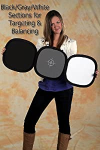 Fotodiox Hand Hold Collapsible Disc, Tri-Fold Reflector + Gray Card/White Balance Digital Target Combo