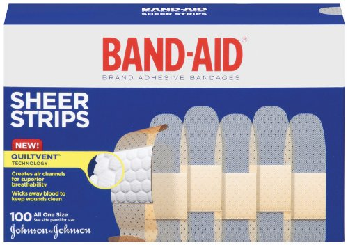 Johnson & Johnson Band-Aid Sheer Adhesive Bandages, 3/4 x 3, 100 per Box
