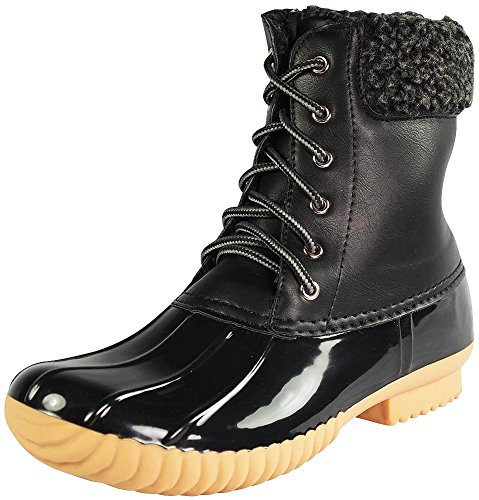 Nature-Breeze-Duck-02-Women-Stitching-Lace-Up-Side-Zip-Waterproof-Insulated-Boot