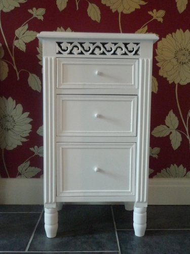 Belgravia Shabby Chic White 3 Drawer Bedside Table