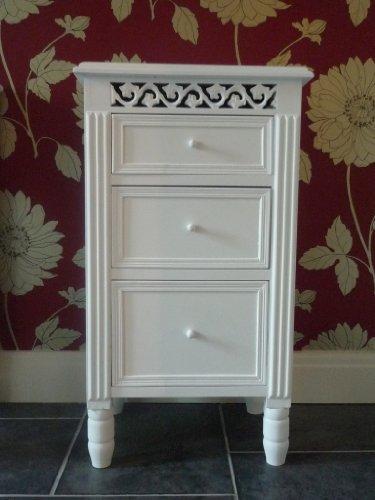 Belgravia Shabby Chic White 3 Drawer Bedside Table