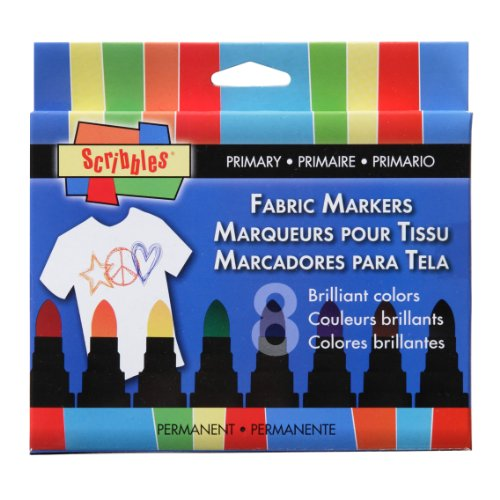 Scribbles Permanent Fabric Markers-Primary