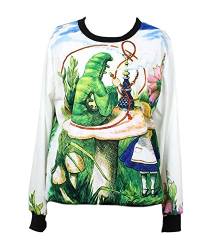 Jungbei Women's Sweaters Alice In Wonderland Hoodies Digital Printed Crewneck