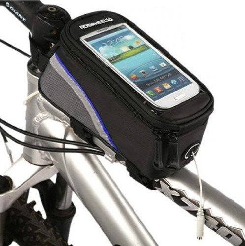 Cycling Bike Mountain Bicycle Frame Front Tube Bag Reflective Blue Bar Touch Phone Case For Iphone4 4S 5 5S