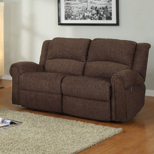 Homelegance Esther Recliner Loveseat in Dark Brown Chenille