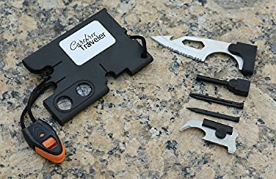 Carefree Traveler Credit Card Pocket Emergency Tool - 10 tools in one: knife, compass, magnifying glass, bottle opener, screwdriver, whistle, and more by Carefree Traveler