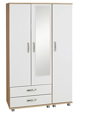 Ideal Furniture 3 Door Plus 2 Drawer and Mirror Wardrobe, Wood, Sonoma Oak Carcass/White Gloss Fronts