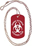 Zombie Outbreak Response Team Red Dog Tag with Neck Chain