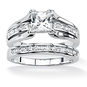 PalmBeach Jewelry Wedding Band Set Princess-Cut Cubic Zirconia Platinum Over .925 Sterling Silver