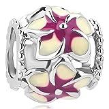 CharmSStory Filigree Orchid Flower Love Enamel Charm Beads Charms For Bracelets (Purple)