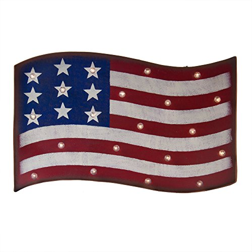 Glitzhome Marquee Patriotic LED Flag Sign Wall Hanging