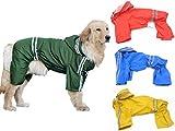 (エムズダイス)M's Dice 大型 中型 犬 用 レインコート 雨具 カッパ 《4カラー3サイズ》 (04.グリーン 3XL)