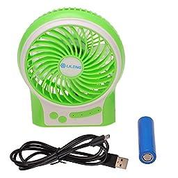 Welltop® Mini Portable Multifunctional Fan Wireless USB Rechargeable Desk Fan Table Fan Personal Fan 3 Modes Wind Speed Adjustable with 18650 Rechargeable Battery and USB Cable (Green)