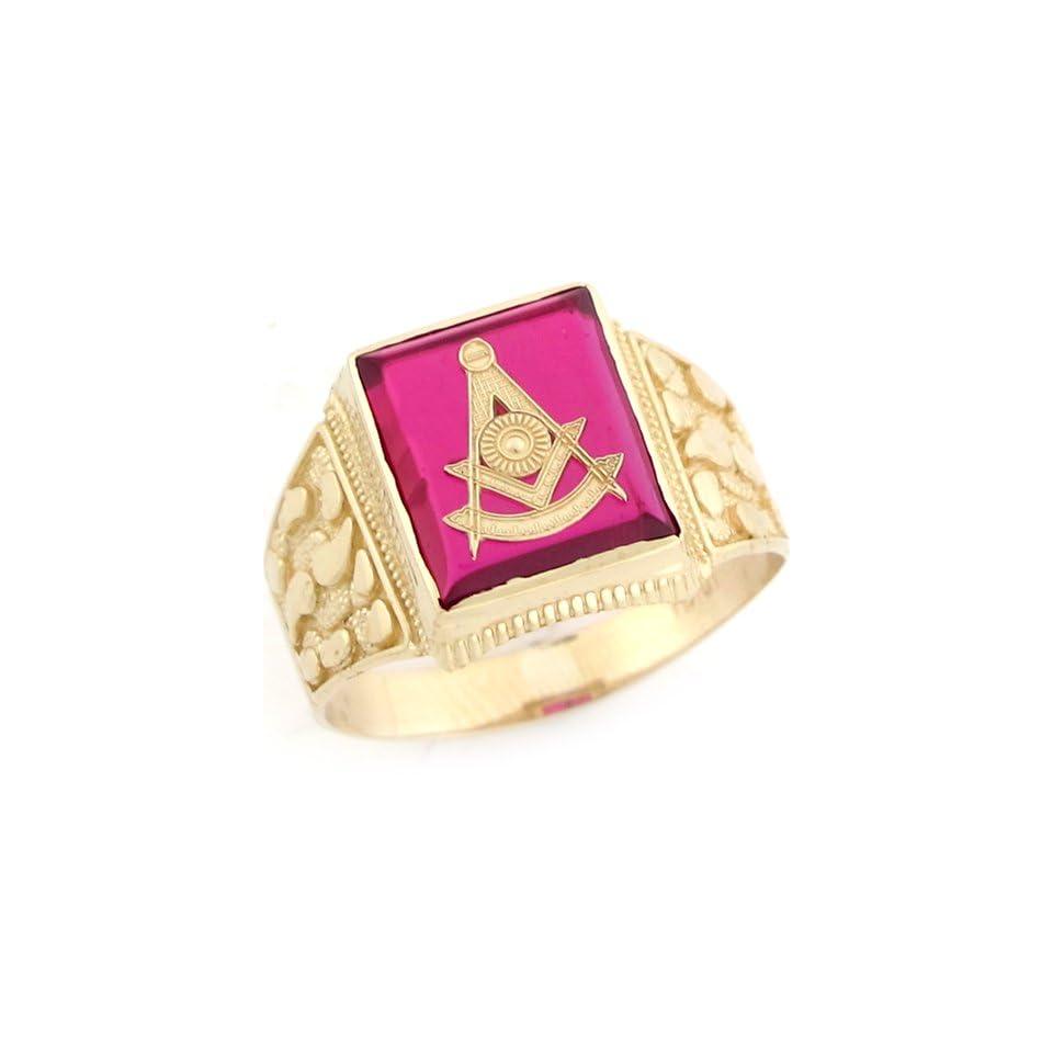10k Real Gold Past Master Freemason Masonic Simulated Ruby Nugget Mens Ring