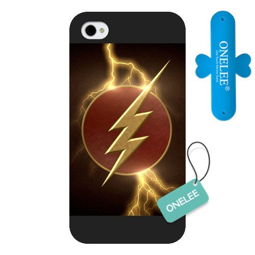 Onelee The Flash Custom Phone Case for iPhone 4 4S, DC comics The Flash Customized iPhone 4 4S Case, Only Fit for Apple iPhone 4 4S (Black Frosted Shell)[Free One Touch Silicone Stand] (Iphone 4s Custom Case compare prices)