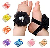ZHW Children Flowers Pearl Baby Girls Barefoot Sandals(10 Pack)