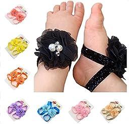 ZHW Children Flowers Pearl Baby Girls Barefoot Sandals(10 Pack)