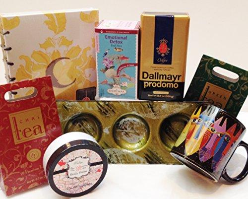 Coffee, Tea, & You Comfort Gift Set - Laurel Burch Mug, Shea Butter Lotion, Europa Glass Candle Holder, Coffee, Teas, Cr Gibson Journal (Moonlight)